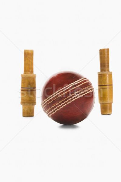 Primer plano cricket pelota madera rojo nuevos Foto stock © imagedb