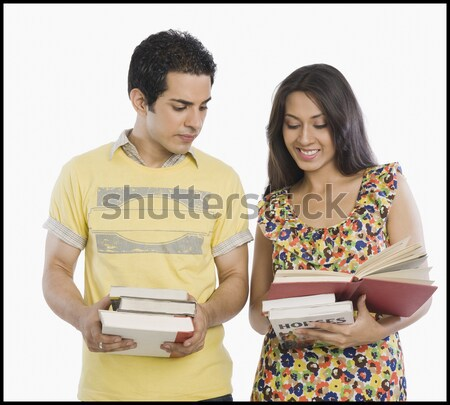Nő tart könyvek fiúbarát áll mögött Stock fotó © imagedb