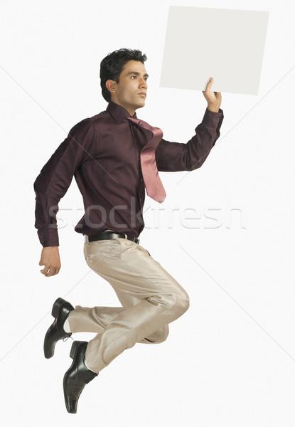Сток-фото: бизнесмен · человека · галстук · прыжки · реклама