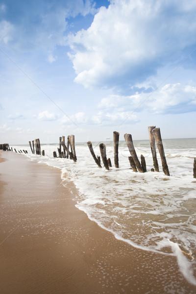 Ahşap plaj Hindistan gökyüzü deniz kum Stok fotoğraf © imagedb