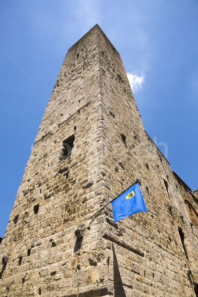 Stock photo: Low angle view of a tower in the medieval town of San Gimignano