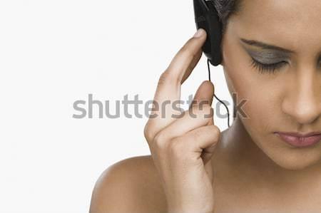 женщину прослушивании страсти макияж великолепный удовольствие Сток-фото © imagedb