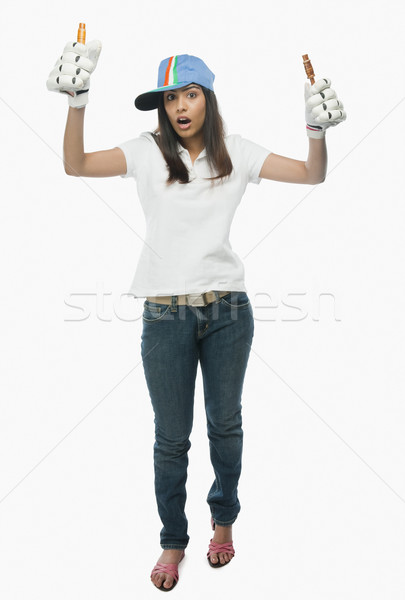 Retrato feminino críquete ventilador mulher Foto stock © imagedb