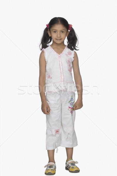 Portret meisje achtergrond zwarte kleur witte Stockfoto © imagedb