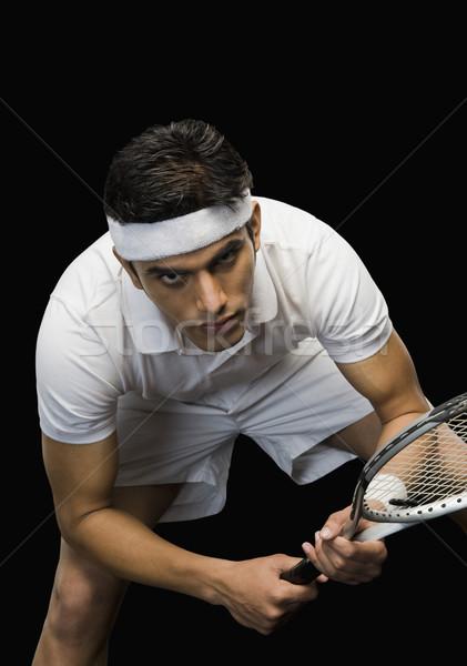 Teniszező gyakorol teniszütő férfi tenisz játszik Stock fotó © imagedb