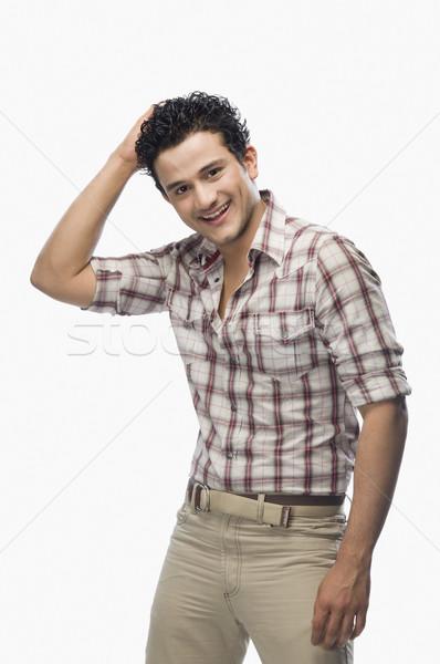 Portré férfi pózol divat hideg bizalom Stock fotó © imagedb