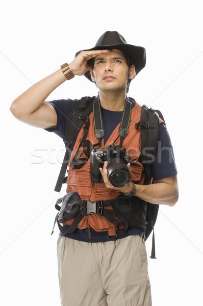 Młodych mężczyzna fotograf aparat cyfrowy człowiek Zdjęcia stock © imagedb