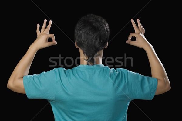 вид сзади человека вызывать знак портрет Сток-фото © imagedb