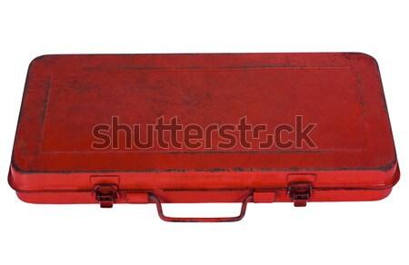 Zamknięte przybornik metal czerwony białe tło Zdjęcia stock © imagedb