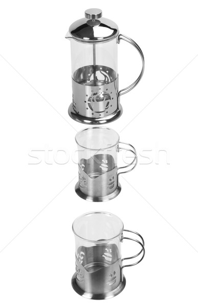 Foto d'archivio: Tazze · di · caffè · vetro · vuota · fine · sfondo · bianco