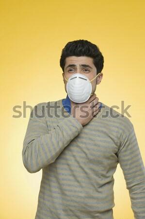 Man verontreiniging masker business veiligheid Stockfoto © imagedb