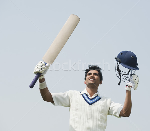 Krikett ünnepel siker férfi sport mező Stock fotó © imagedb