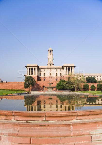 Tükröződés kormány épület víz Új-Delhi India Stock fotó © imagedb