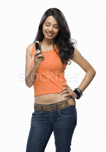 Jonge vrouw vrouw schoonheid jonge mobiele telefoon Stockfoto © imagedb