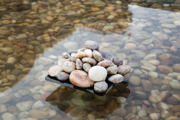 Pebbles in an artificial pond, Jaisalmer, Rajasthan, India Stock photo © imagedb