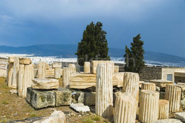 Ruínas colunas campo Acrópole Atenas Grécia Foto stock © imagedb