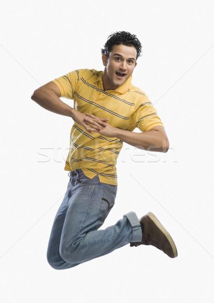 Portrait homme posant amusement modernes sautant Photo stock © imagedb