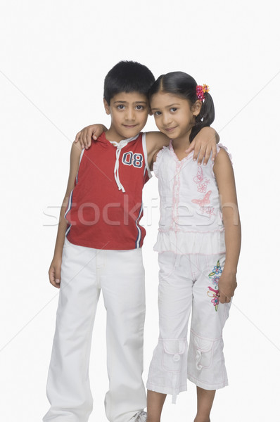 Portré fiú lánytestvér kar körül gyerekek Stock fotó © imagedb