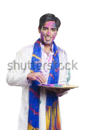 портрет человека краской весело молодые Сток-фото © imagedb