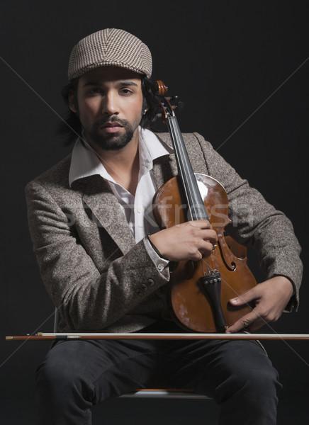 Músico violino música boné sessão Foto stock © imagedb