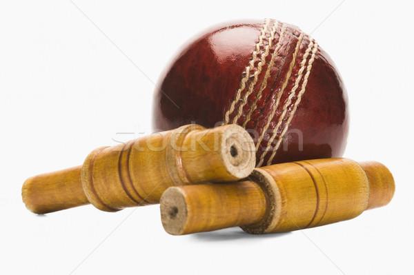 Cricket bal hout Rood leder Stockfoto © imagedb