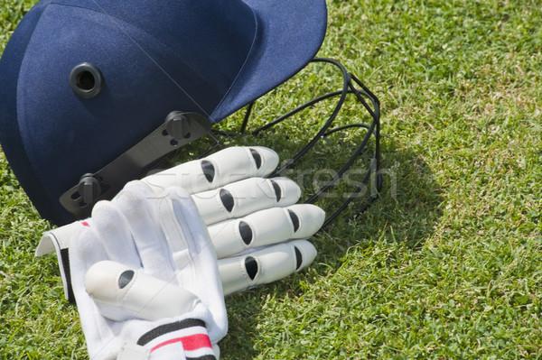 крикет шлема перчатки области спорт тень Сток-фото © imagedb