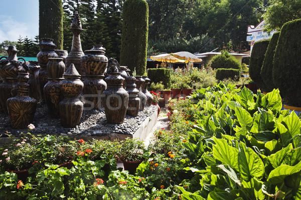 Decorative urns in a park, Peace Park, Mount Abu, Sirohi Distric Stock photo © imagedb
