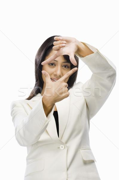 деловая женщина пальца кадр женщину молодые Сток-фото © imagedb
