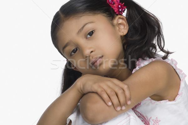 クローズアップ 悲しい 少女 背景 肖像 ストックフォト © imagedb