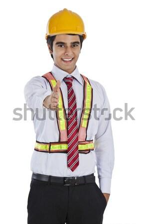 üzletember kéz kézfogás férfi portré fiatal Stock fotó © imagedb