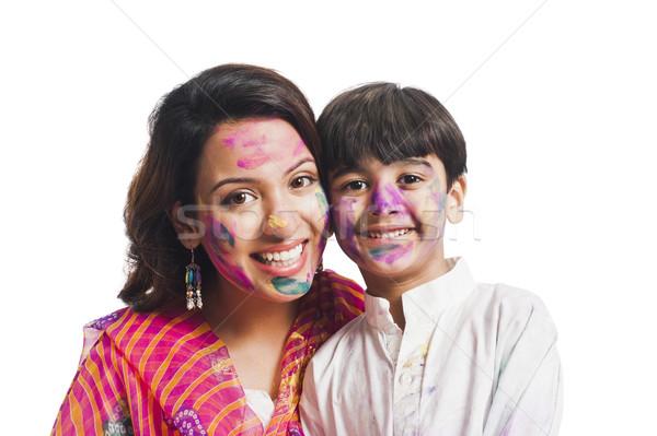 Portre kadın oğul festival aile Stok fotoğraf © imagedb