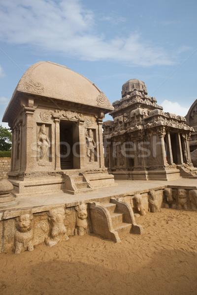 Ancient Pancha Rathas temple at Mahabalipuram, Kanchipuram District, Tamil Nadu, India Stock photo © imagedb