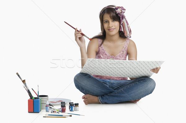 Vrouw schilderij foto pen potlood werken Stockfoto © imagedb
