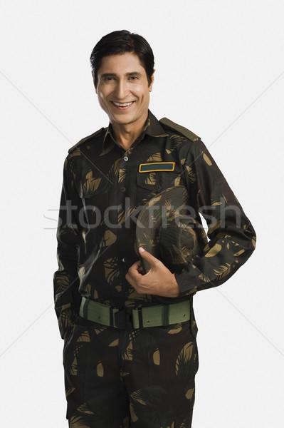 Portret armii żołnierz uśmiechnięty Zdjęcia stock © imagedb