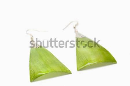 Bambu folha verde fundo branco close-up Foto stock © imagedb