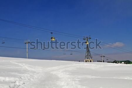 Stock photo: Ski lifts over snow covered landscape, Kashmir, Jammu And Kashmi