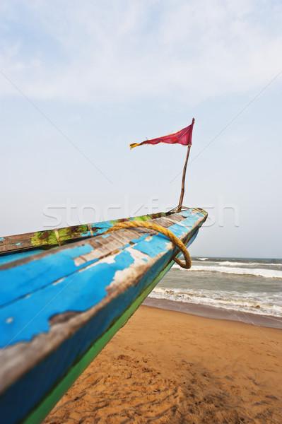 Small flag on the bow of a fishing boat, Puri, Orissa, India Stock photo © imagedb