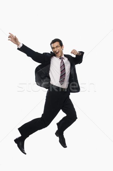 Stock foto: Geschäftsmann · springen · Business · Mann · schwarz · Erfolg