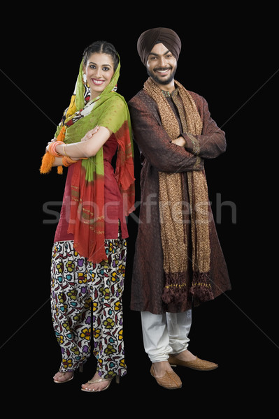 Portret sikh paar glimlachend geluk fotografie Stockfoto © imagedb
