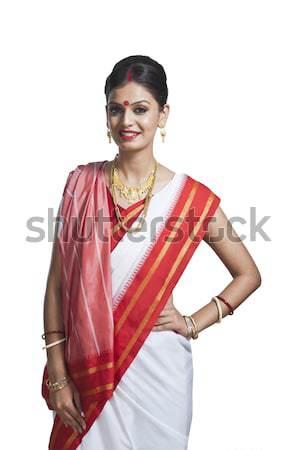 Portrait of Bengali woman in traditional sari Stock photo © imagedb