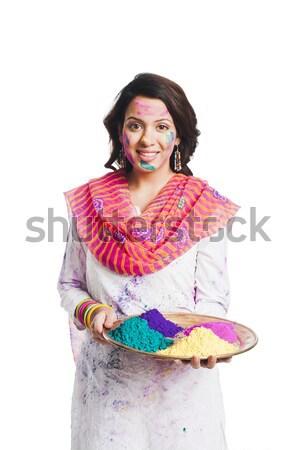 Donna colori piatto divertimento ritratto Foto d'archivio © imagedb