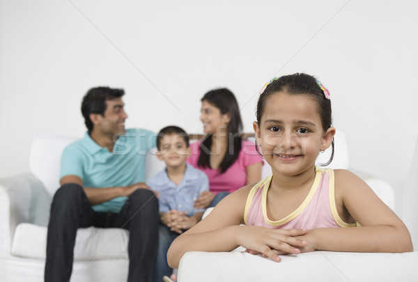 Portret meisje glimlachend familie mannelijke 20s Stockfoto © imagedb