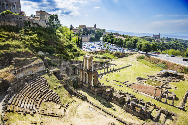 Aerial view of ancient roman amphitheatre Stock photo © imagedb