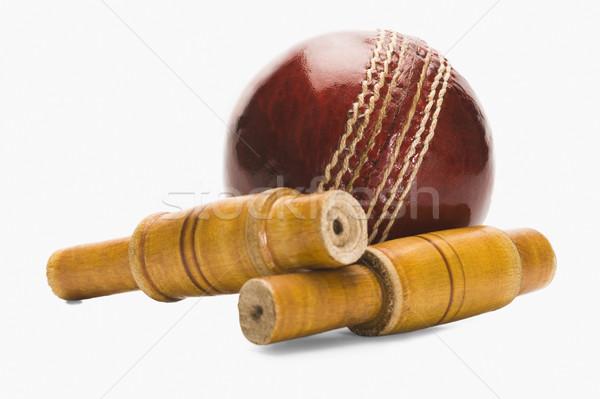 Kriket top ahşap kırmızı yeni Stok fotoğraf © imagedb