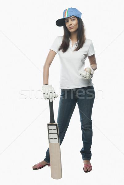Portre kadın kriket fan bat Stok fotoğraf © imagedb