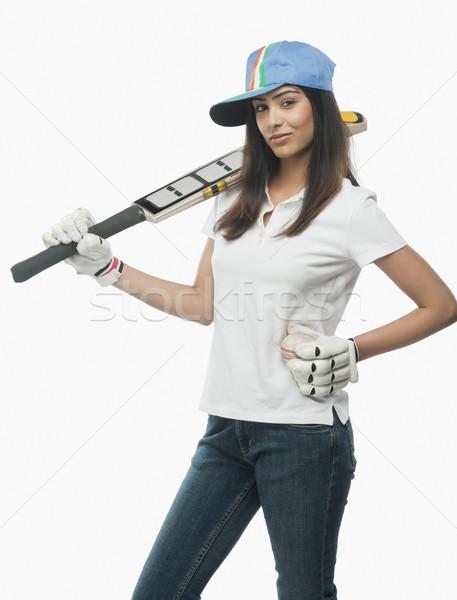 Retrato femenino cricket ventilador bate Foto stock © imagedb
