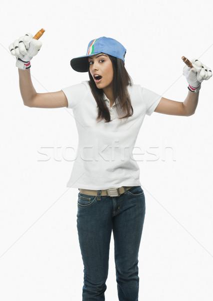 портрет женщины крикет вентилятор женщину Сток-фото © imagedb
