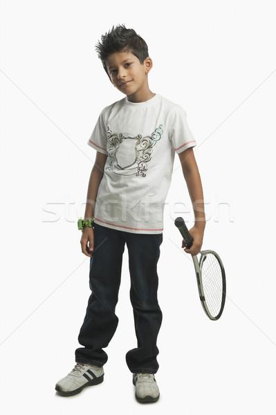 Portre erkek tenis raketi spor çocuk Stok fotoğraf © imagedb