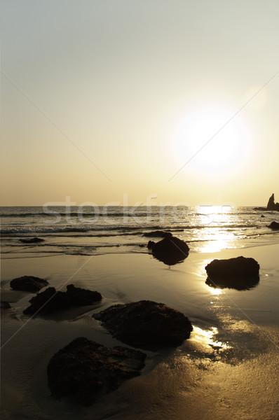 Tengerpart naplemente Goa India víz tenger Stock fotó © imagedb