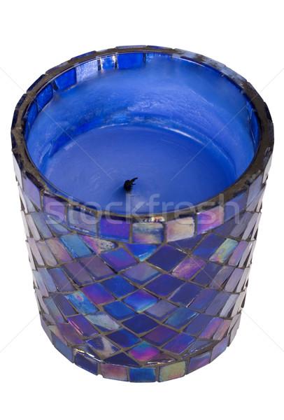 Közelkép gyertya üveg kék modern puha Stock fotó © imagedb